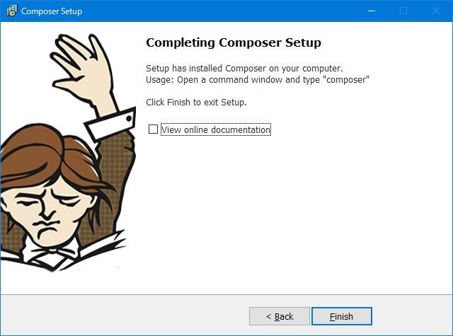 composerインストール「completing compser setup」画面
