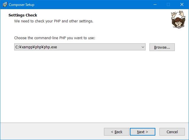 composerインストール「setting check」画面
